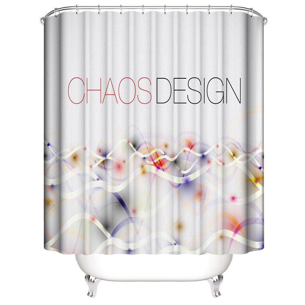 Bathroom Waterproof Shower Curtain With 12 Hooks Hawaiian Style Home Decoration