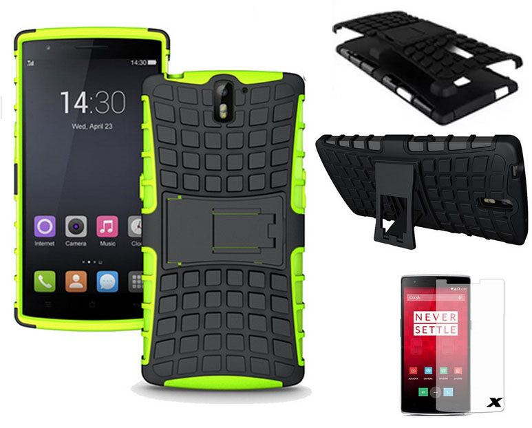 huge discount 080ed 054fa Oneplus one Case Heavy Duty Hybrid Kickstand green