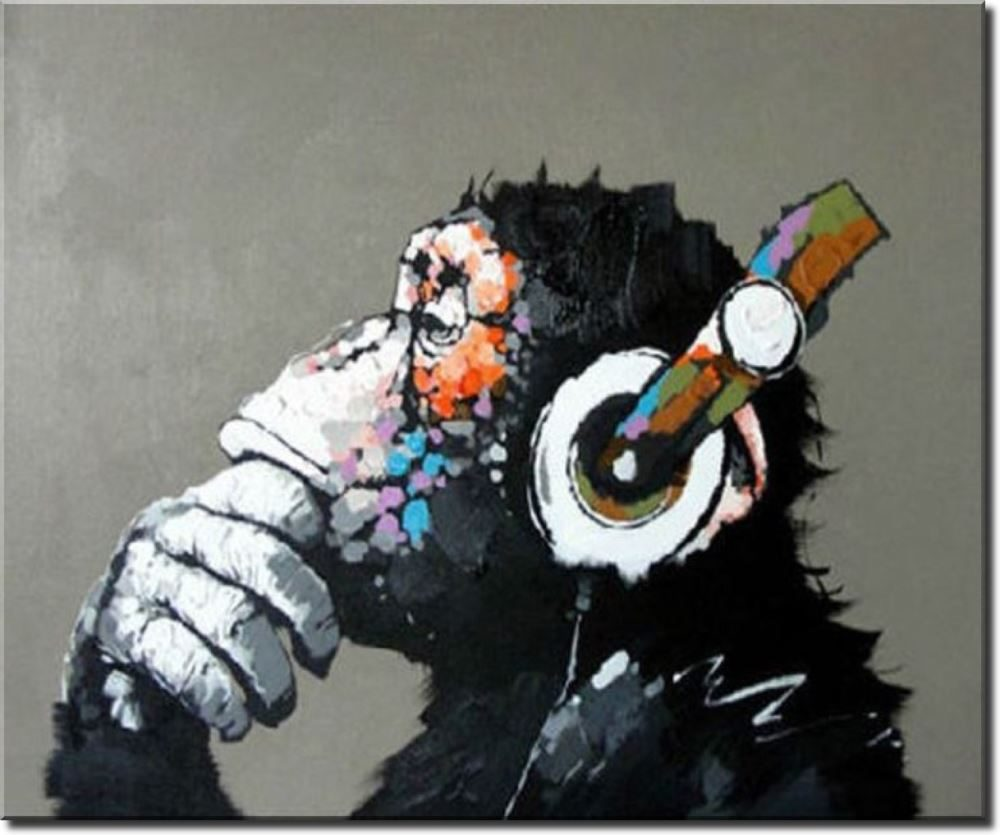 Huge Extra Large Canvas Oil Painting Funky Monkey Ready To Hang