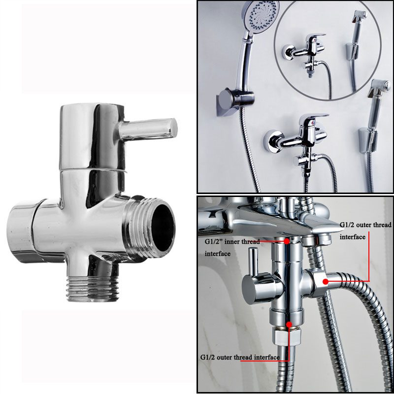 G1 / 2 Bathroom Angle Valve For Shower Head Water Separator Shower ...