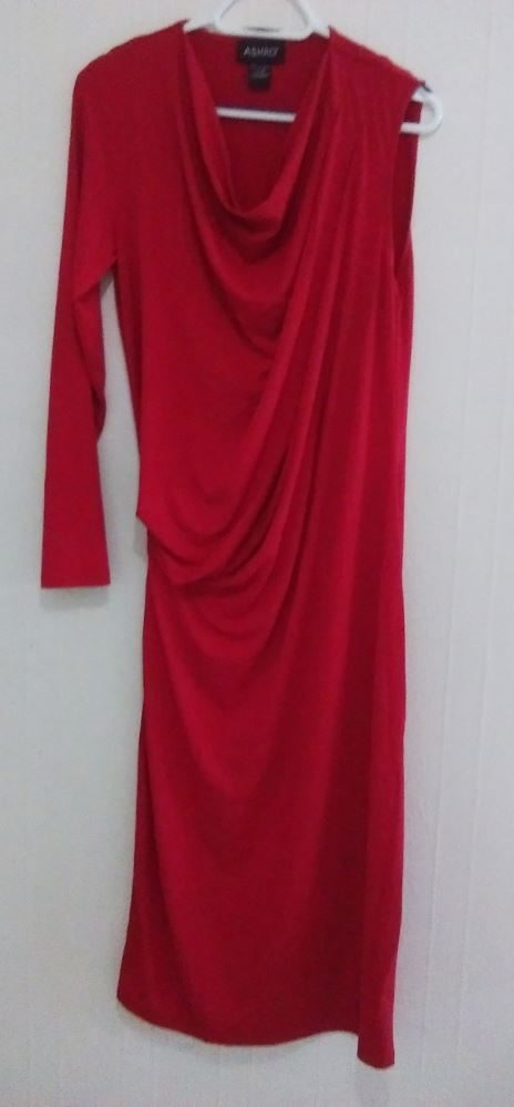 ASHRO One slv Maxi Dress Red M 14/16, NEW
