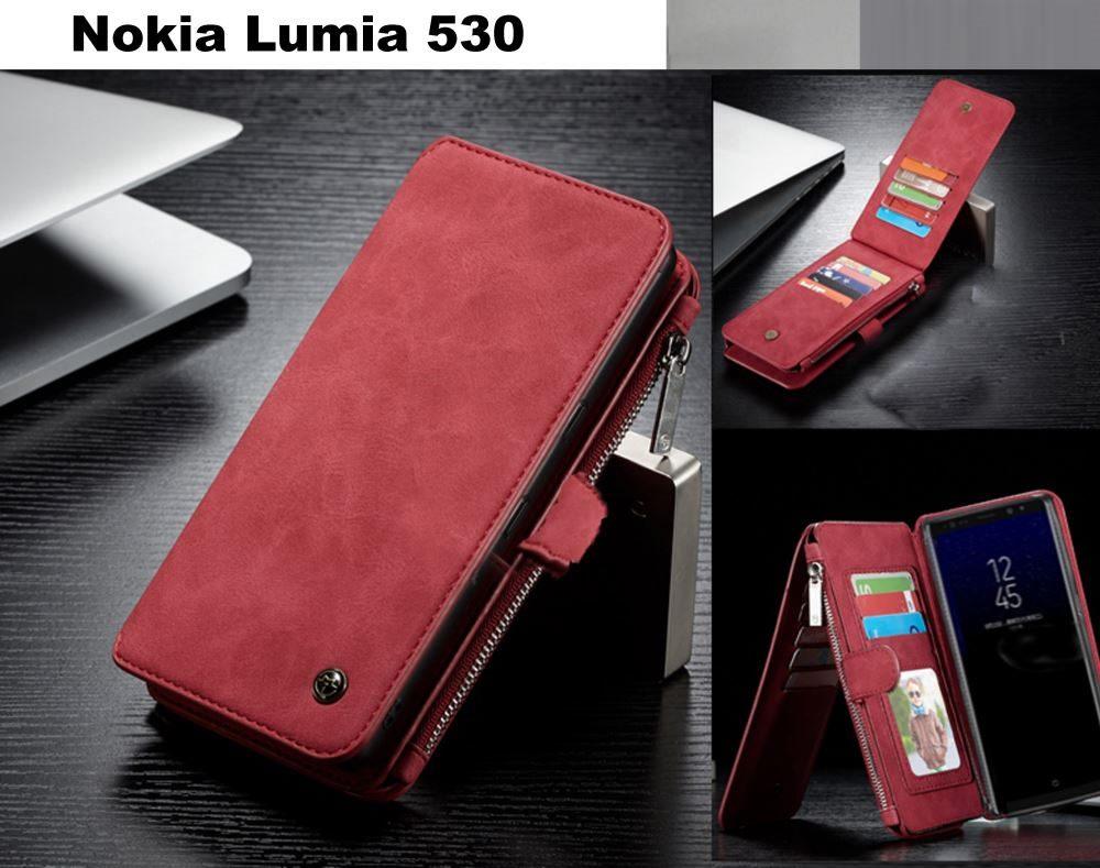 Nokia Lumia 530 Retro Flannelette Leather Case Multi Cards Zipper Click To Enlarge Photo