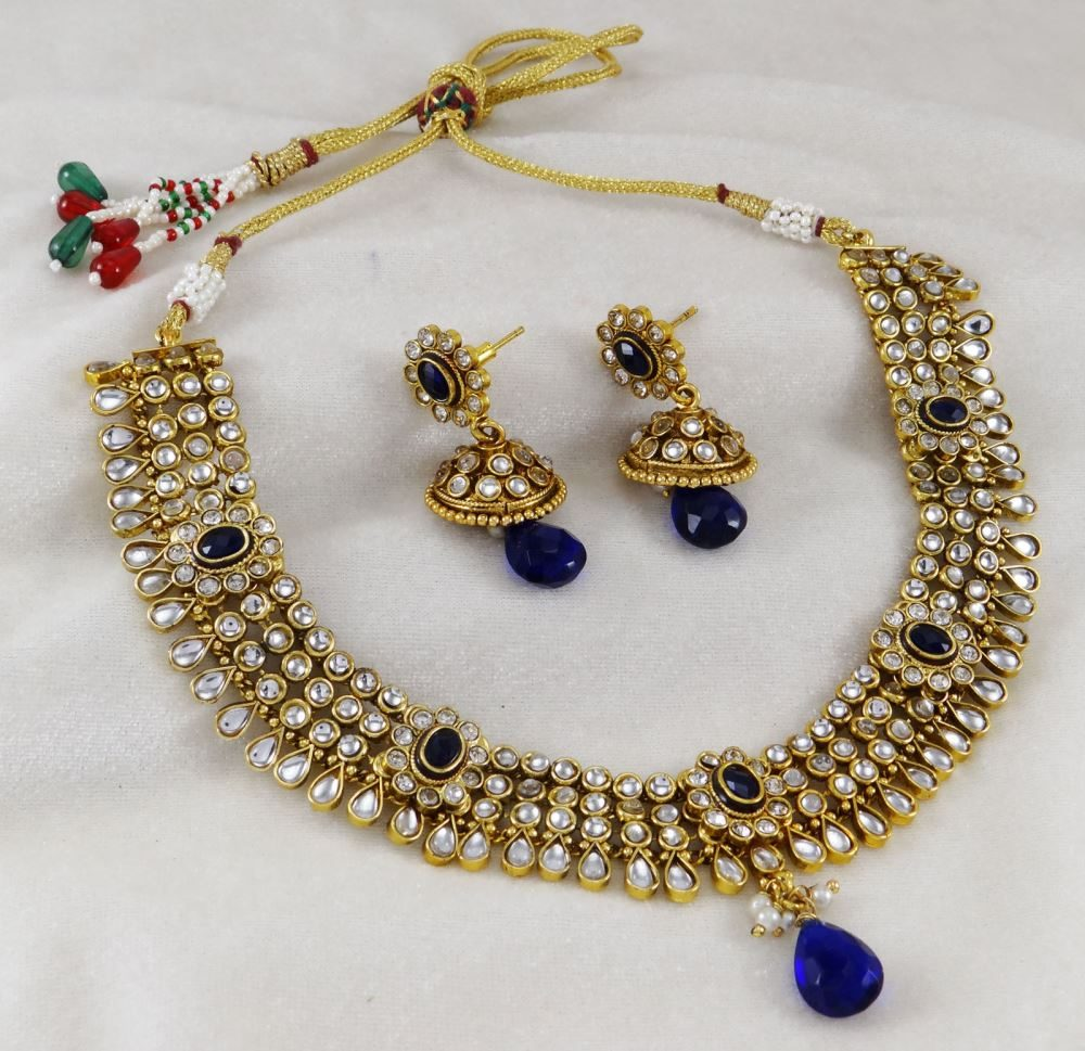 Traditional Goldtone 2pc Necklace Set Ethnic South Indian Style