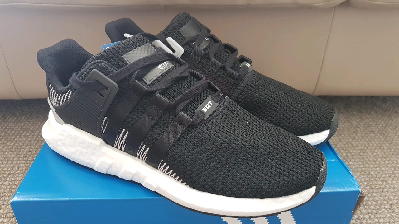 separation shoes 91d2a 631e5 ADIDAS EQT SUPPORT 93/17 CASUAL ULTRA BOOST SHOES BLACK/WHITE NEW 45% OFF
