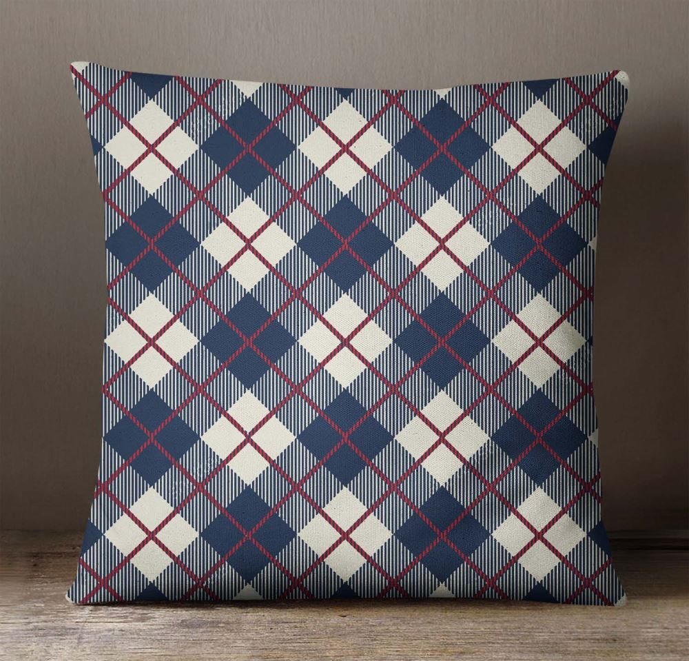 Throw Sofa Square Navy Blue Pillow