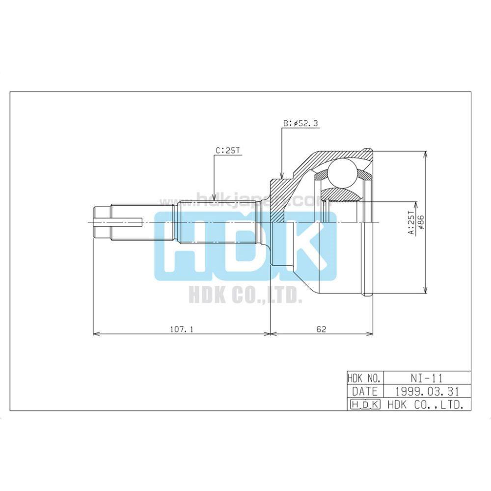 Hdk Cv Joint Nissan 25 52 Trade Me Diagram Click To Enlarge Photo