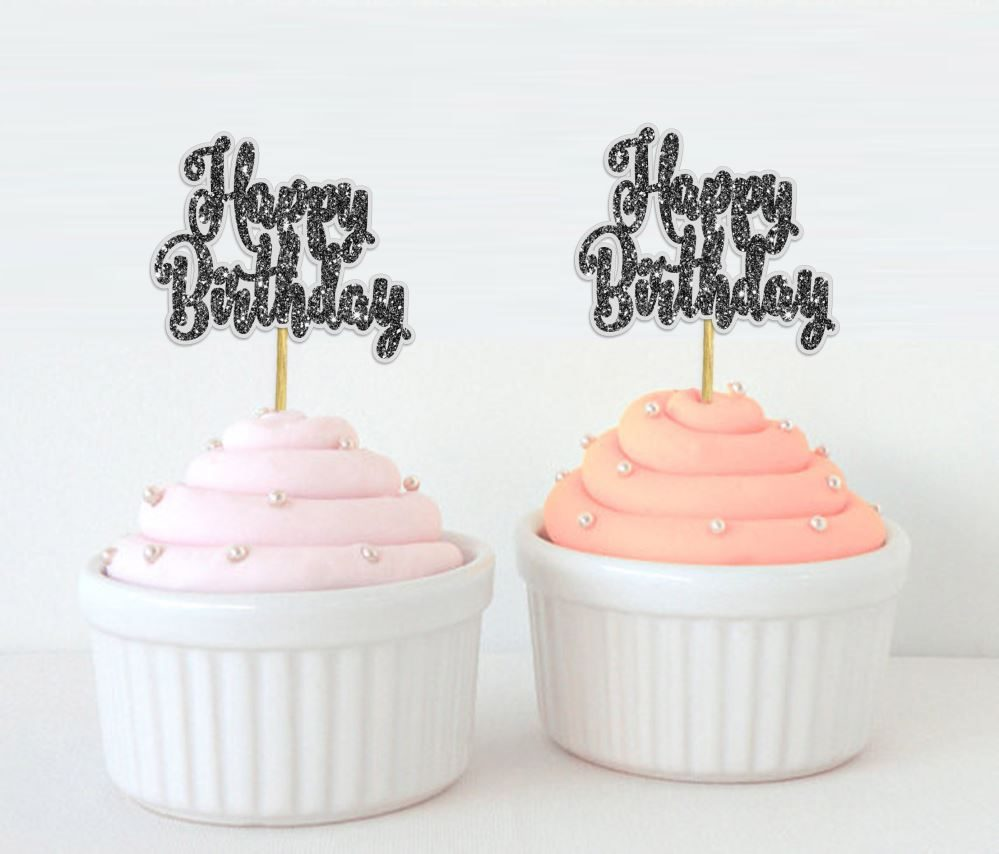 Darling Souvenir Happy Birthday Party Cupcake Decorations Toppers