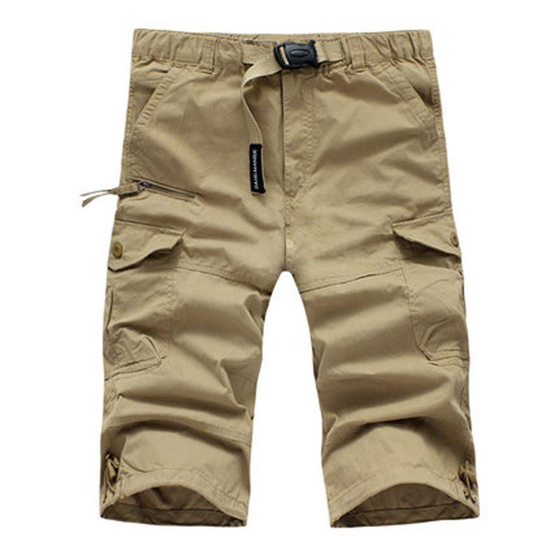3d492ec909 Men Outdoor Casual Cargo Shorts Knee Length Workout Multi-Pocket ...