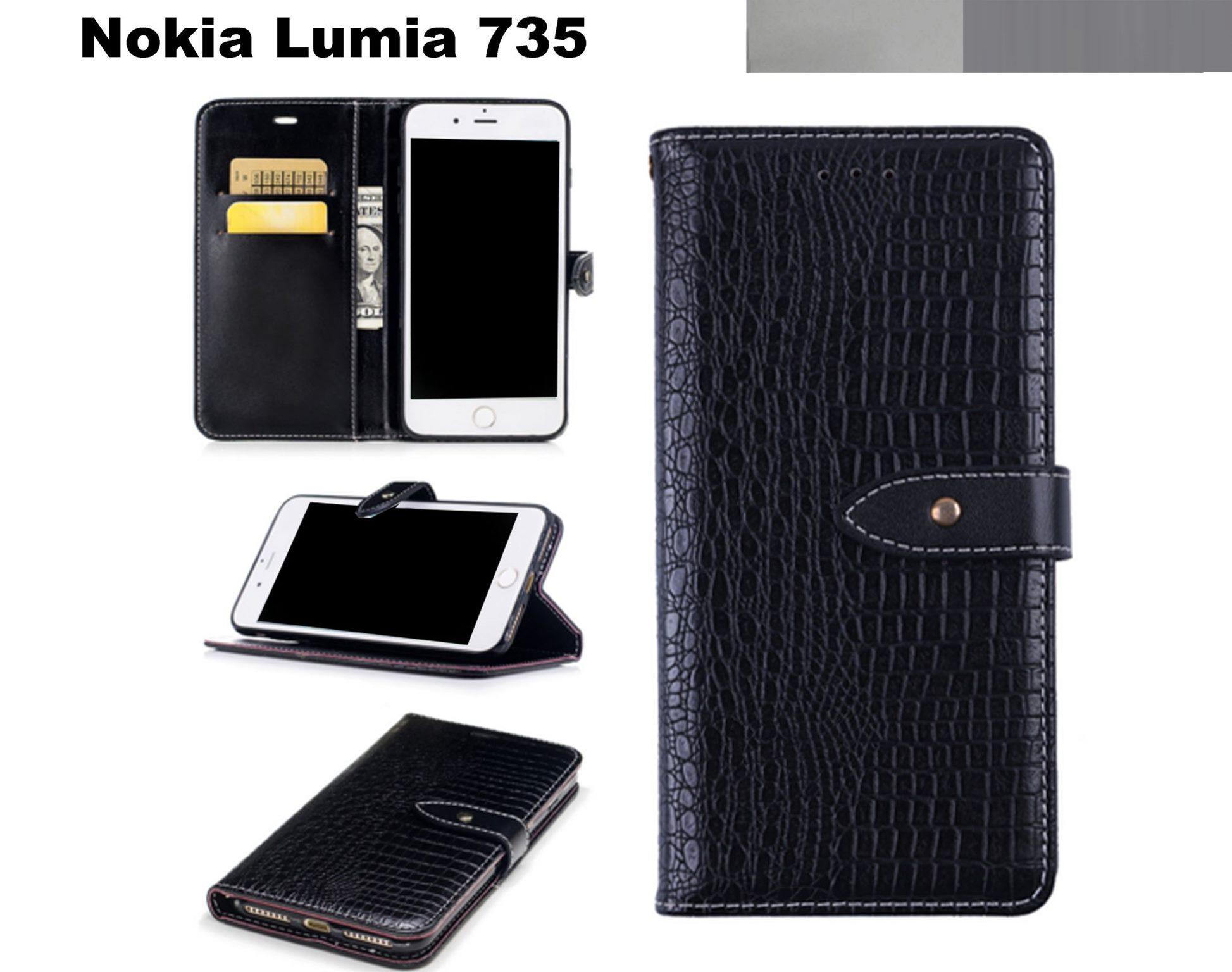 online store 8af62 dec0d Nokia Lumia 735 croco pattern leahter wallet case slim black