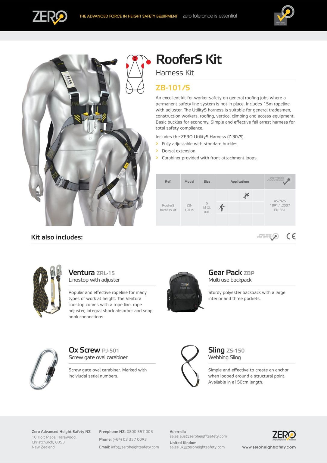 Zero Roofers Kit Harness Available With 15m 20m Or 30m Rope Roofing Click To Enlarge Photo