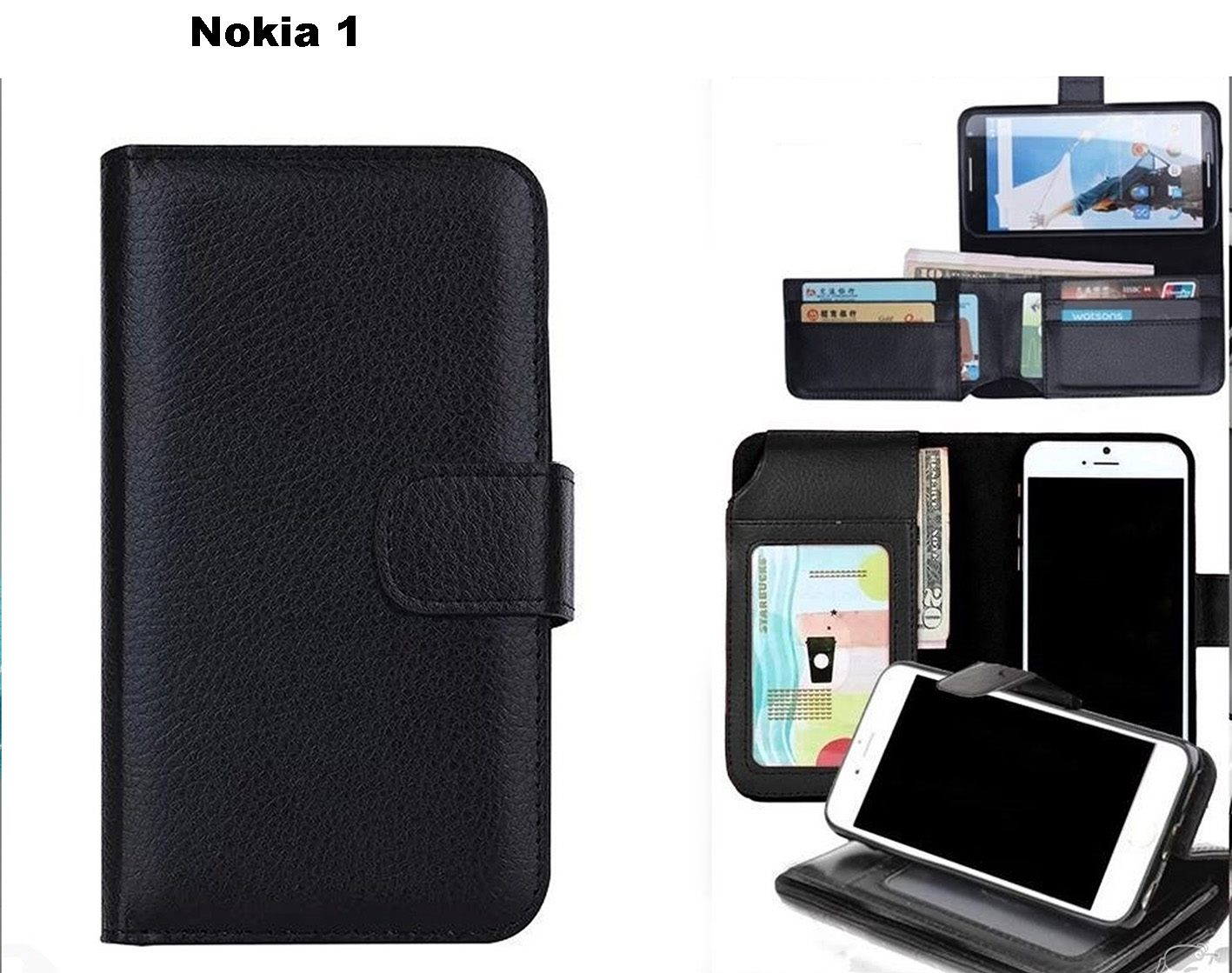 the best attitude 1f72a ca503 Nokia 1 leather wallet case folded 7 cards ID black