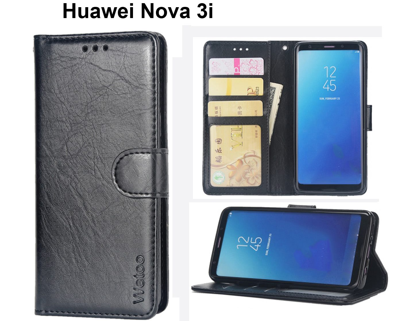 Huawei Nova 3i Case Premium Pu Leather Gel Inner Card Slots Blk Click To Enlarge Photo