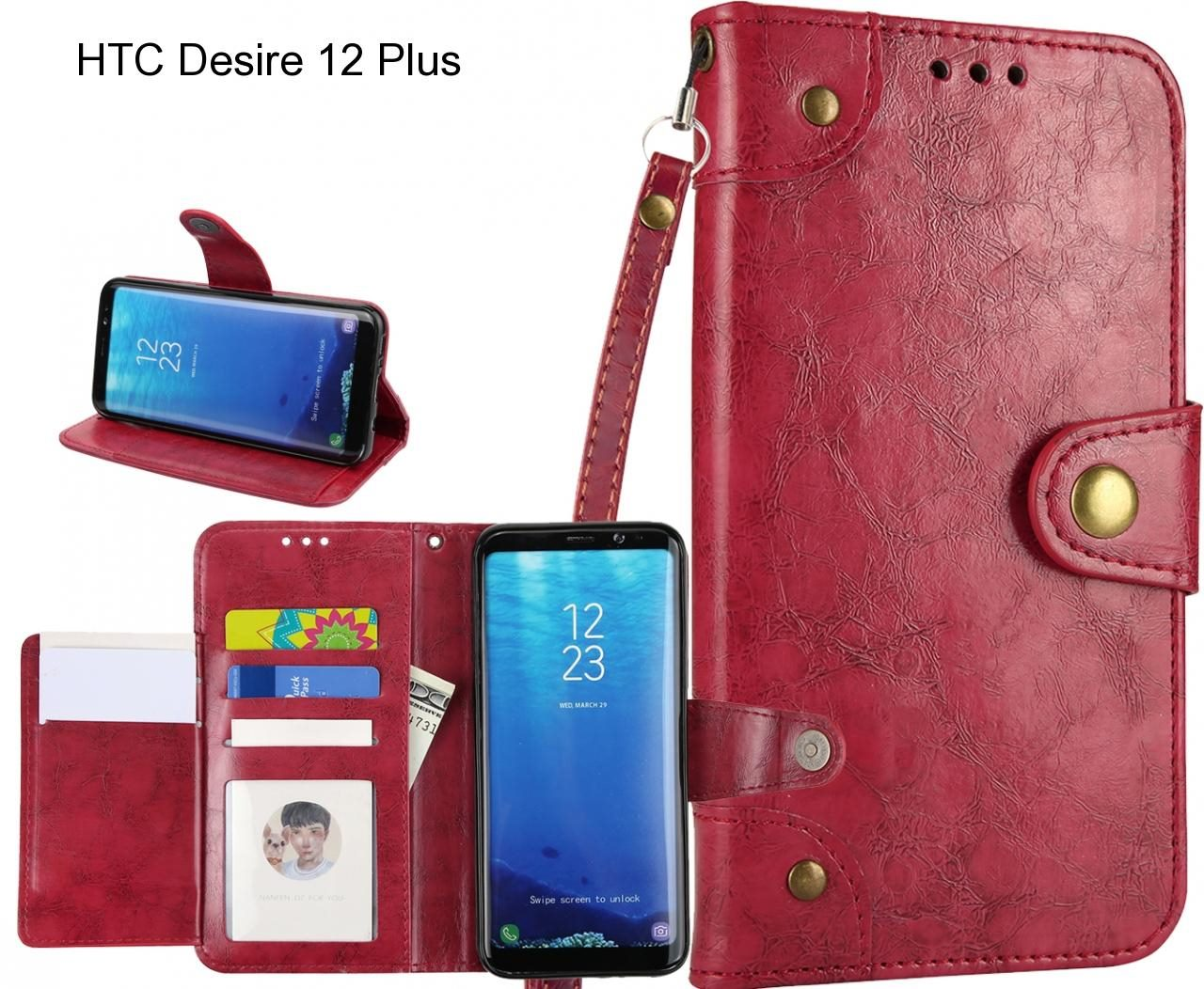 HTC Desire 12 Plus case executive multi card wallet leather case