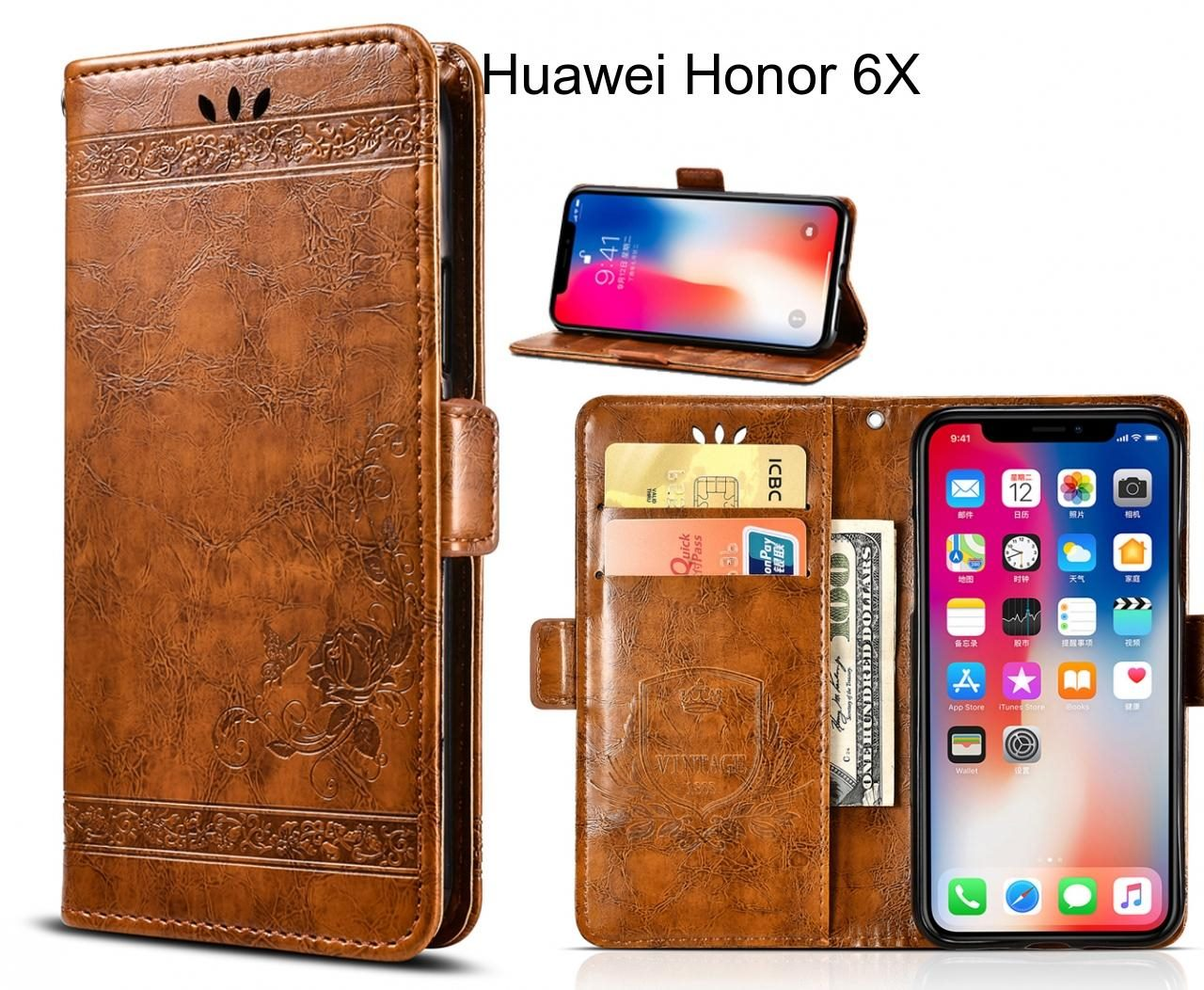 Huawei Honor 6X Case retro leather wallet case
