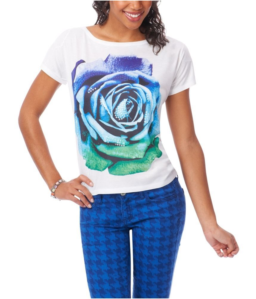 Aeropostale Womens Sequin Floral Fashion Graphic T-Shirt X-Small Green