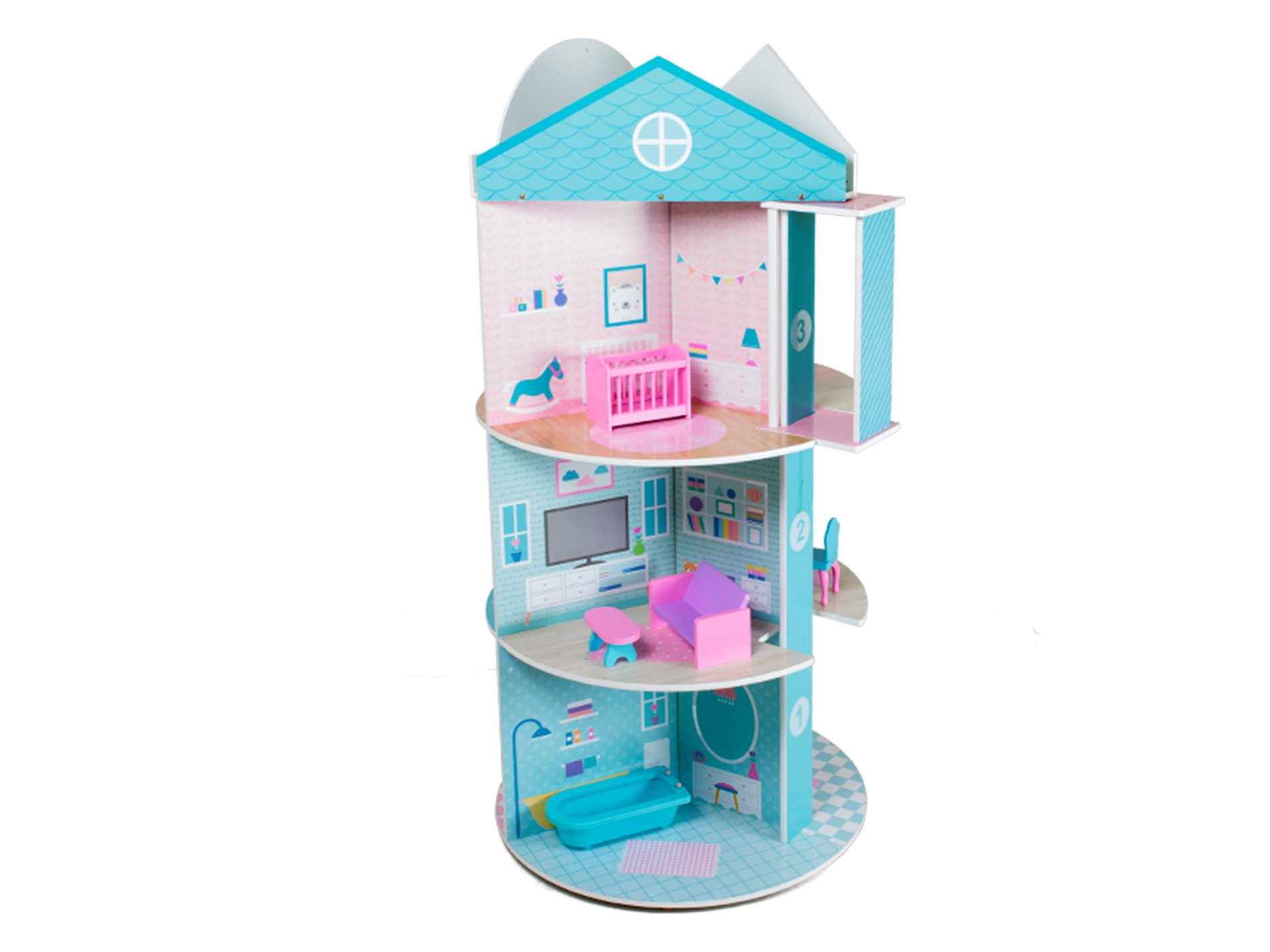 wooden doll house & shops play set with furniture