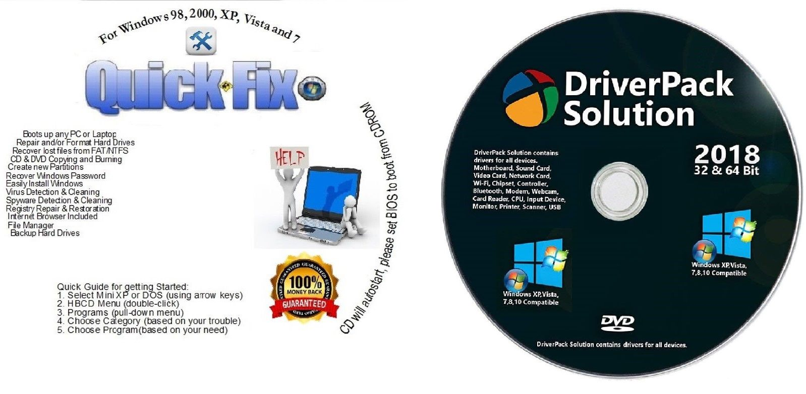 WIN 10/8/7 Boot Repair Restore CD & AUTOMATIC DVD