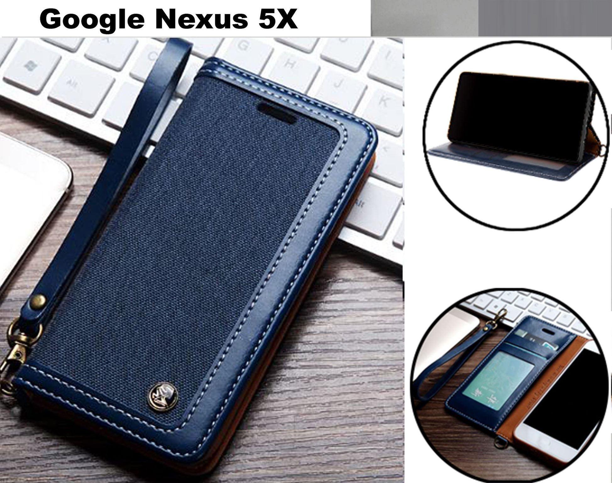 san francisco 836fa 55ce2 Google Nexus 5X case wallet denim leather combined style magnet nvy