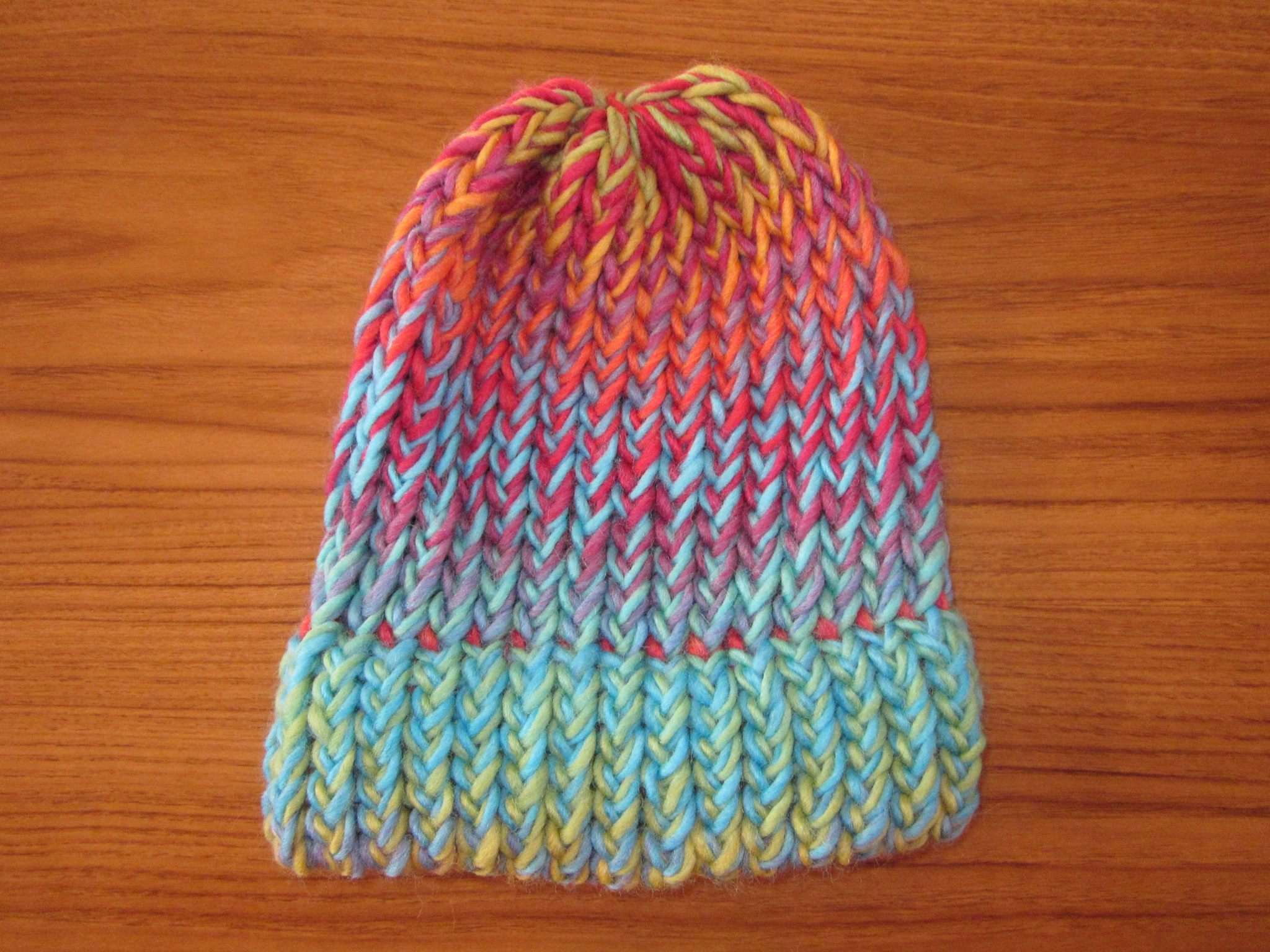 100% NZ Wool Beanie -Rainbow (toddler size)  01ea0f62d59