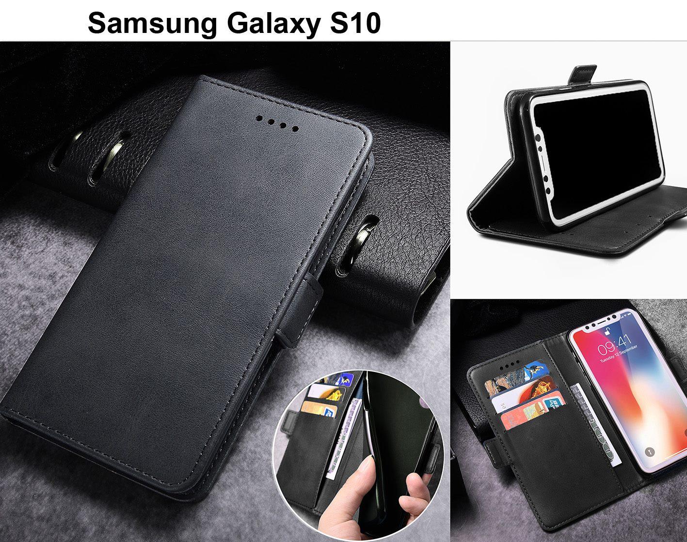 72211c8b689baa Galaxy s10 case leather wallet slim cow hide finish side magnet blk ...
