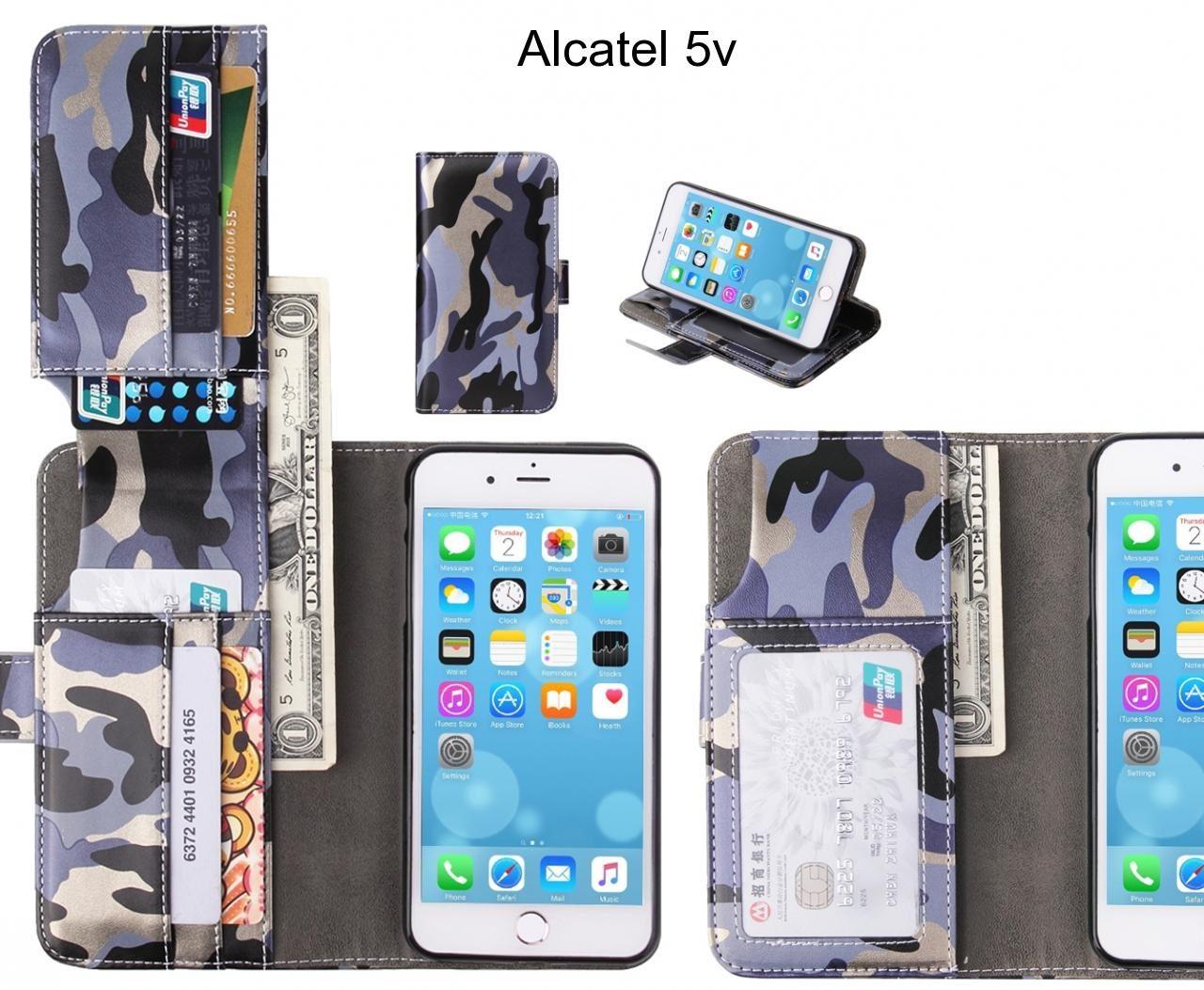 Alcatel 5v Case Wallet Leather Flip Case 7 Card Slots