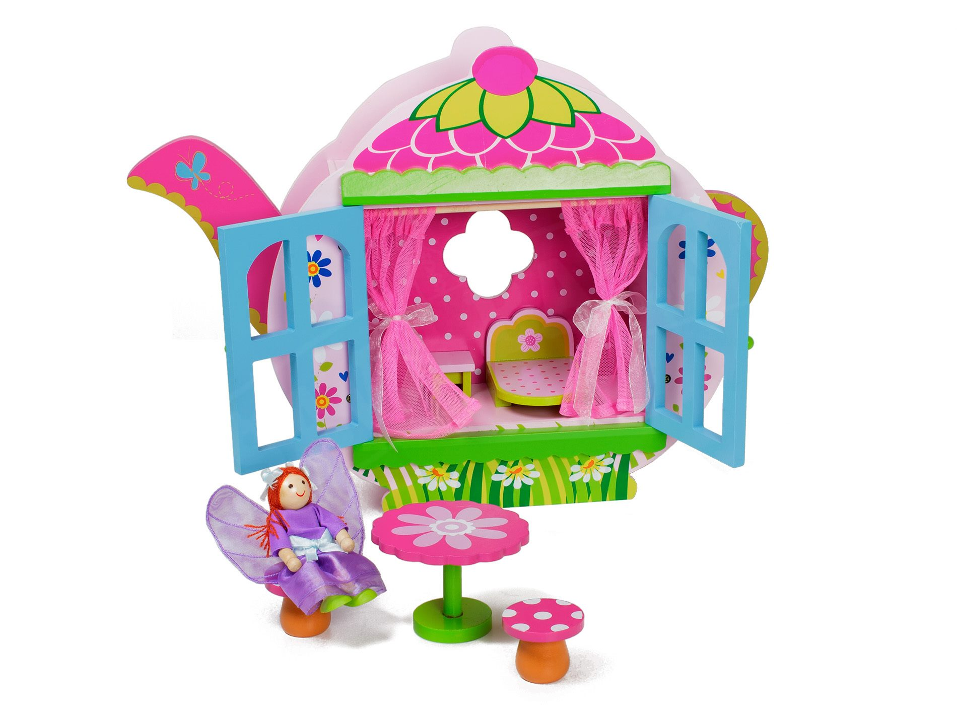 wooden teapot dollhouse & furniture fairy playset