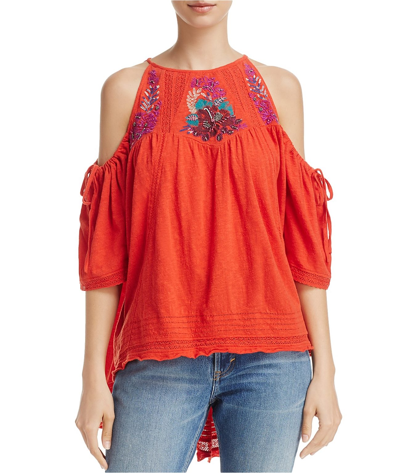 Free People Womens Fast Times Embroidered Knit Blouse