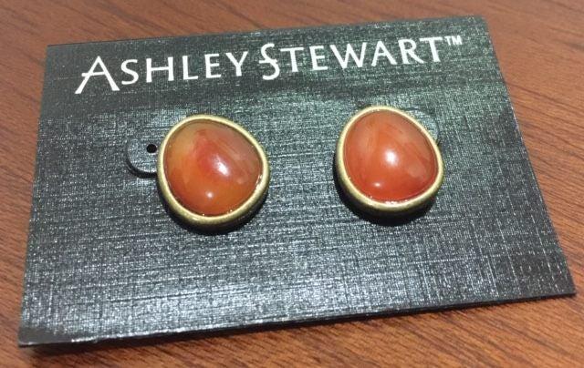 6f2e4d910f4 Brass Tone - Ashley Stewart - Dark Honey  Resin Colour Earrings ...