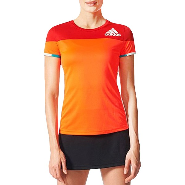 04afb6da2eb25 adidas Performance Womens Colorblock Badminton Sports Training T-Shirt Top  - Red