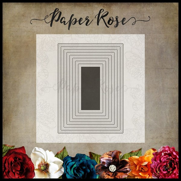 Paper Rose Dies-stitched Rectangles