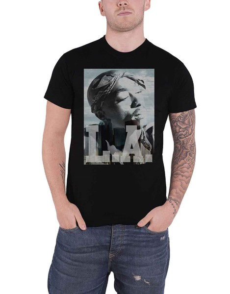 b58b516d Tupac T Shirt LA Skyline portrait 2pac Logo new Official Mens Black ...