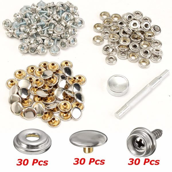30Set Fastener Screws With Attaching Tool For Boat Marine Canvas Cover