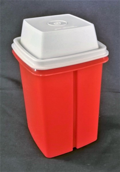 VINTAGE TUPPERWARE pickle CANISTER - RED AND BONE