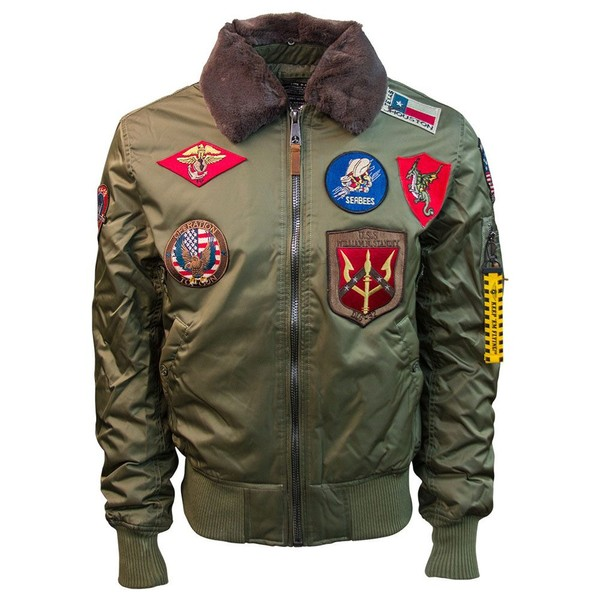 new arrival 107e2 3462b Top Gun Official B 15 Mens Flight Bomber Jacket with Patches Olive ...