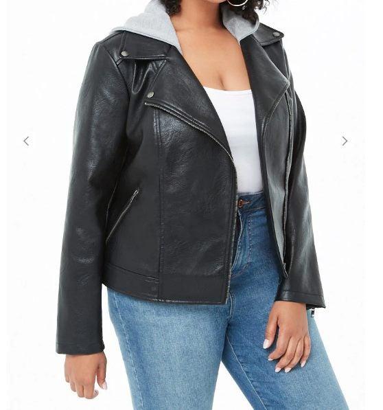 a46a9586de Plus Size Faux Leather Combo Moto Jacket-AFTERPAY!!!