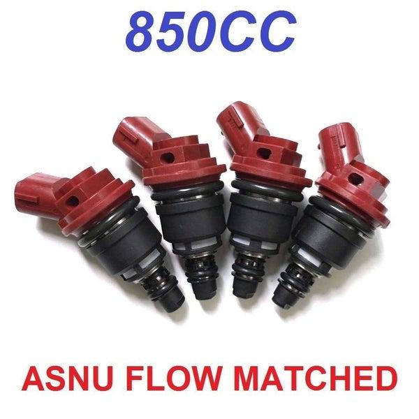 A set of 4 850CC Side Feed Fuel Injectors FOR SUBARU WRX STI EJ20 EJ25 JECS e85