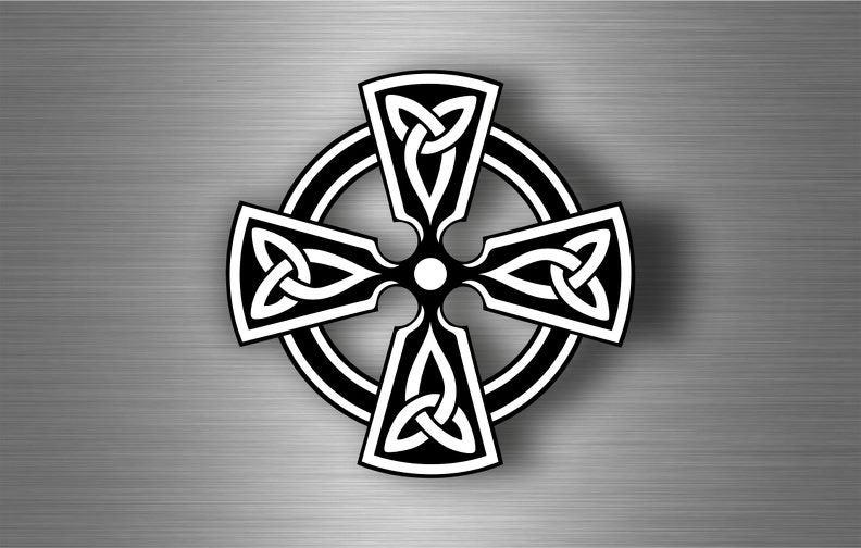 Sticker car motorcycle helmet vinyl chopper knotted celtic cross etch irish r6