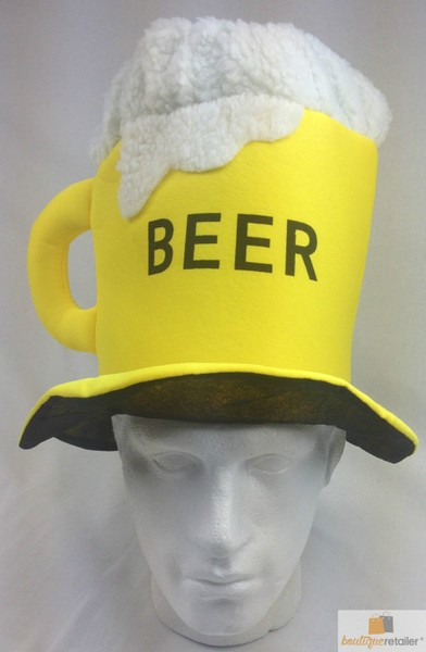 BEER HAT Drinking Mug Party Costume Accessory Fancy Dress Cap Halloween Unisex