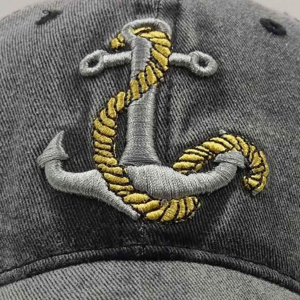 ANCHOR BASEBALL CAP IN BLACK - FISHERMAN BOATIE SAILOR CAPTAIN YACHTIE  63d8e1340b21