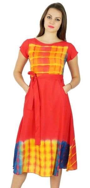 1fd532be63fb Bimba Womens Knee Length Cotton Shift Dress With Pockets Summer Casulal  Holiday