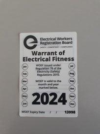 Caravan electrical warrant of fitness